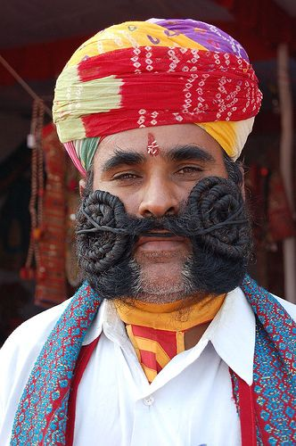 Big Moustache Man From Pushkar by mystiquecreation, via Flickr