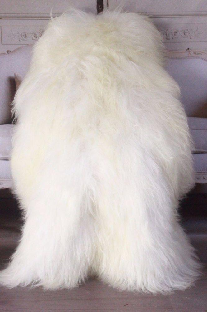 Genuine Natural EXTRA LARGE XXL Icelandic Sheepskin Rug, Pelt, long fur  WHITE #naturalsheepskin #sheepskin #sheepsknrug