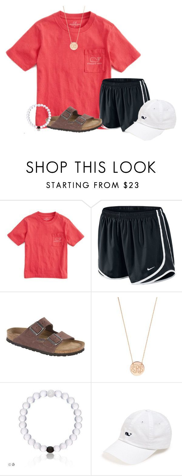"""Summer Vibes"" by flroasburn ❤ liked on Polyvore featuring Vineyard Vines, NIKE, Birkenstock and BaubleBar"