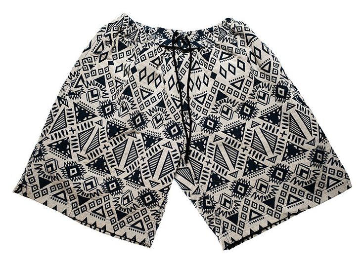 Surfer / bohemian shorts for Men in Dark blue / White  inca / graphic colors by Aviimade on Etsy