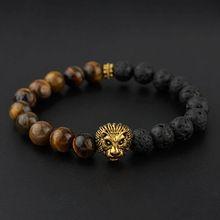 BRA1148 Hot sale tigereye & black lava beaded gold lion head men's bracelet