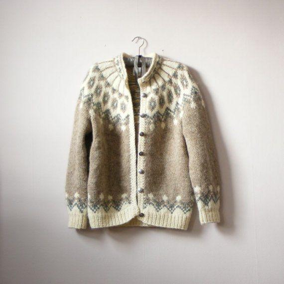 vintage LIGHT ICELANDIC hand knit CARDIGAN