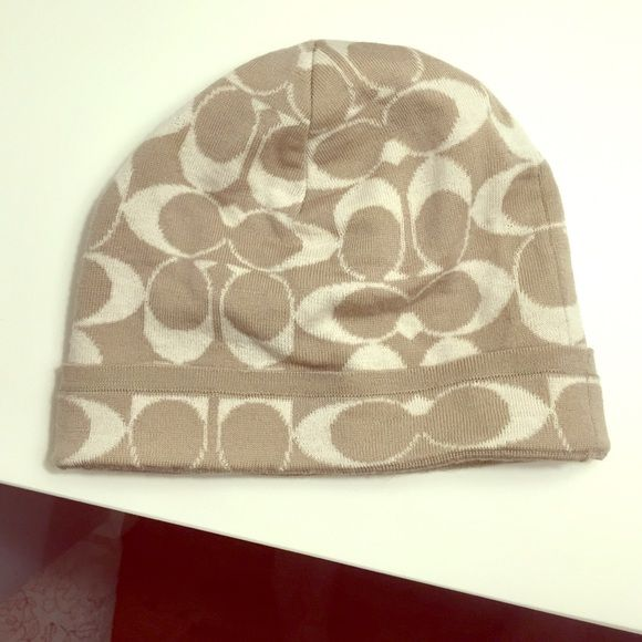Coach hat Tan and white logo print hat Coach Accessories Hats