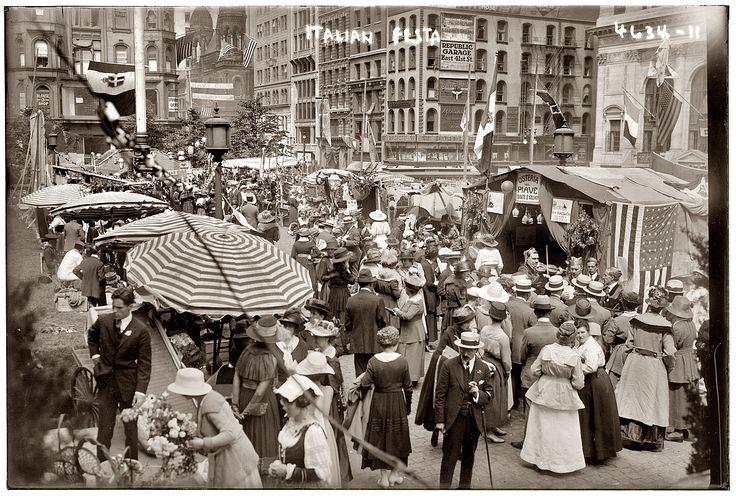 """""""Italian Festa."""" Circa 1912 street festival in New York's Little Italy."""