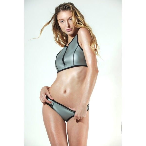 Katerina Riazanova Silver Titanium Sport Neoprene Bikini (€130) ❤ liked on Polyvore featuring swimwear, bikinis, low cut bikini, sport bikini, sports bikini swimwear, bikini two piece and sports swimwear