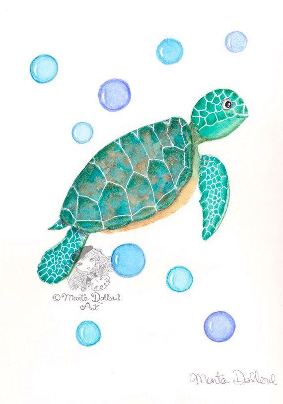 Sea Turtle art print . Sea turtle painting. by MartaDalloul