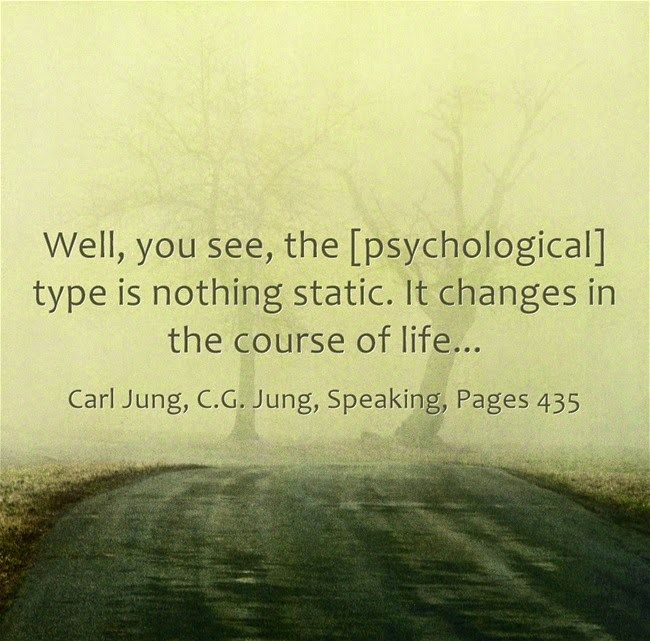"""[Psychological types are not static. Dr. Jung advocated the transformation and """"becoming"""" of one's personality and not the wearing of a 4-letter """"type"""" as a lifelong badge o…"""