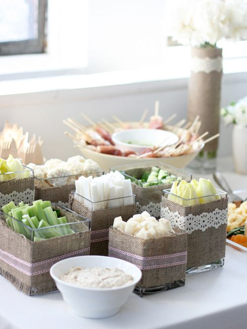 fun way to spruce up the winter crudite by serving in glass cubes that I covered with burlap fabric and decorated with pretty ribbon