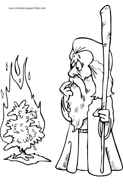 moses with burning bush coloring page - Moses And The Burning Bush Coloring Page