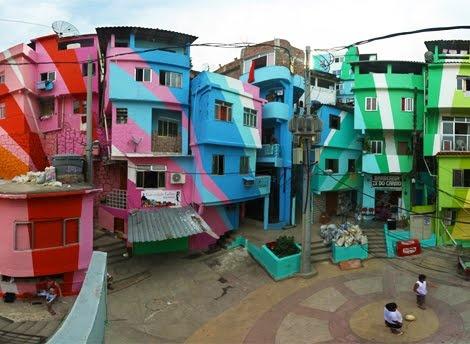 Street art/community project in Favela Santa Marta, Rio de Janeiro