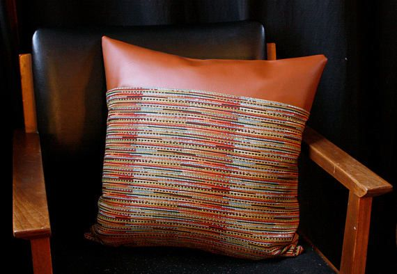 bohemian pillow cover faux leather vegan leather