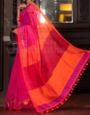 Beautiful Combination Of Orange And Pink Handloom Saree For Daily Use