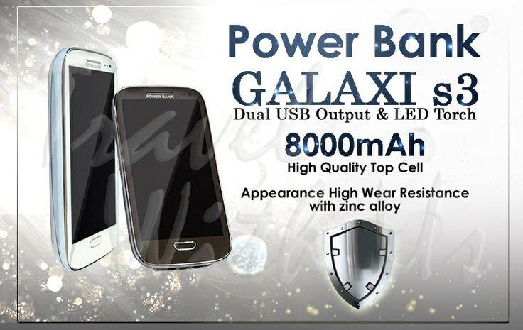 PowerBank Galaxy S3 8000mAh, Only 276.000,- *not include shipping cost  - Desain yang unik, serupa Samsung Gal S3 - Battery jenis Lithium-Ion. - Casing terbuat dari stainless-steel - Memiliki 2 jenis output; port 1,0A untuk pengisian ulang handphone/smartphone, BB, PSP, MP3 Player dll, dan port 2,1A untuk pengisian tablet, pocket camera dll. - Dapat digunakan untuk 2 device sekaligus - 4 lampu LED sebagai indikator batery & saat pengisian ulang - 1 Lampu LED untuk lampu darurat