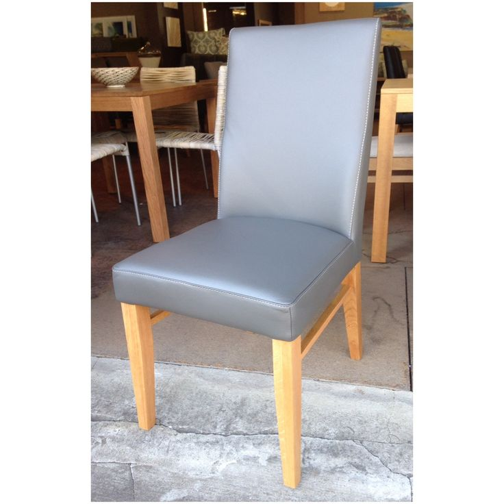 Our genuine leather dining chair in 'grey' for sale at Wildflower Furniture.