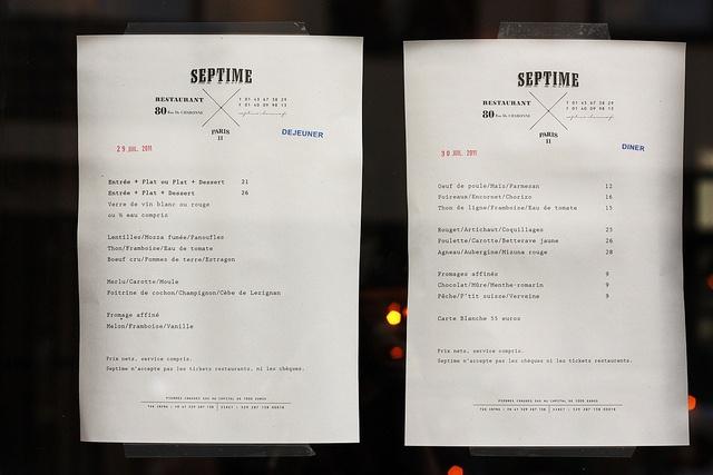 Septime menu