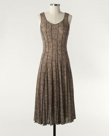 Linear check V-neck dress - would definitely need a jacket with this dress