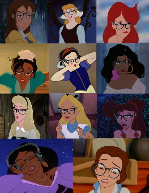 hipsters: Nerd, Hipster Princesses, Disney Hipster, Stuff, Wear Glasses, Things, Hipster Disney Princesses, Disneyprincess, Disney Girls