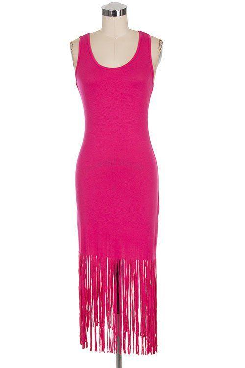 Fuchsia Fringe Dress