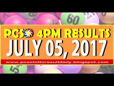 PCSO 4PM LOTTO RESULTS JULY 05, 2017 (SWERTRES & EZ2 LOTTO)