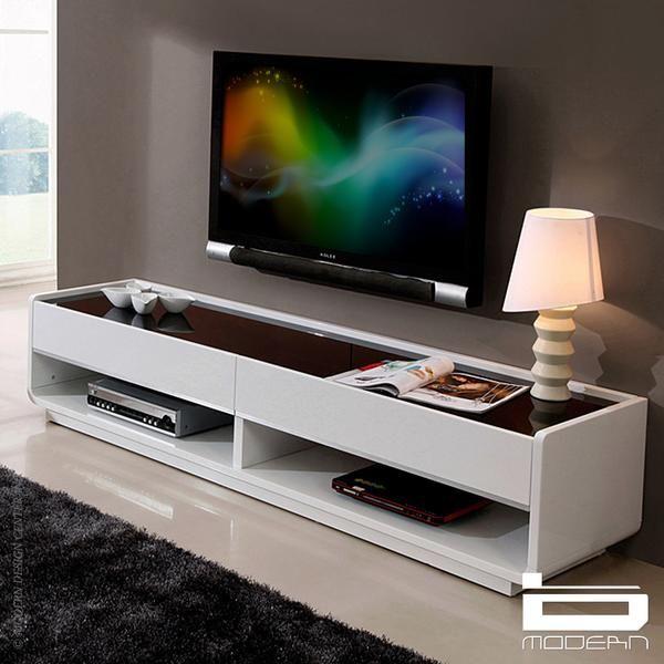 B Modern Designer White TV Stand