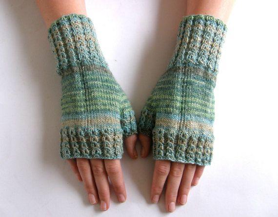 Vingerloze wanten  handschoenen Groen maat L door Carolinevantveer