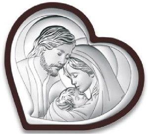 Obrazek Święta Rodzina serce w ciemnej oprawie- prezent na ślub komunię chrzest (BC#6432WM)