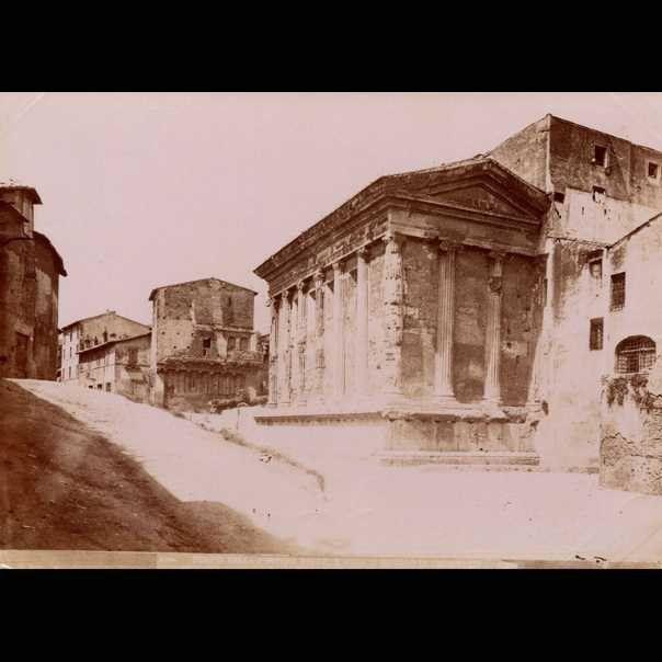 Piazza Bocca della Verità, Tempio della Fortuna Virile e la Casa dei Crescenzi 1850