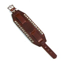 Wide Brown Leather Studded Watch Bands Genuine leather brown wide watch band with pyramid studded detail that is American made from top grain cowhide leather. Adjustable buckle straps.  Easily attach your watch or wear it without for a cool retro look.