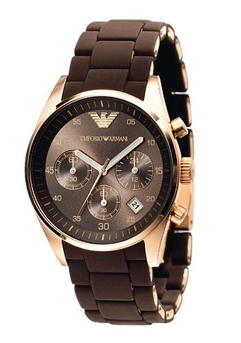 Emporio Armani Ladies AR5891 Sport Rose Gold Ion-Plating Brown Chronograph Dial Watch >> $199.00 << | Your #1 Source for Watches and Accessories