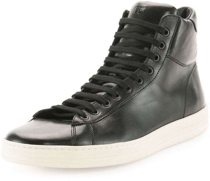 $990, Black Leather High Top Sneakers: Russel Leather High Top Sneaker Black by Tom Ford. Sold by Neiman Marcus. Click for more info: http://lookastic.com/men/shop_items/119928/redirect
