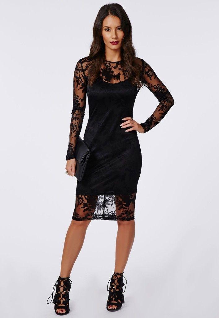 Black Midi Mesh Lace Dress