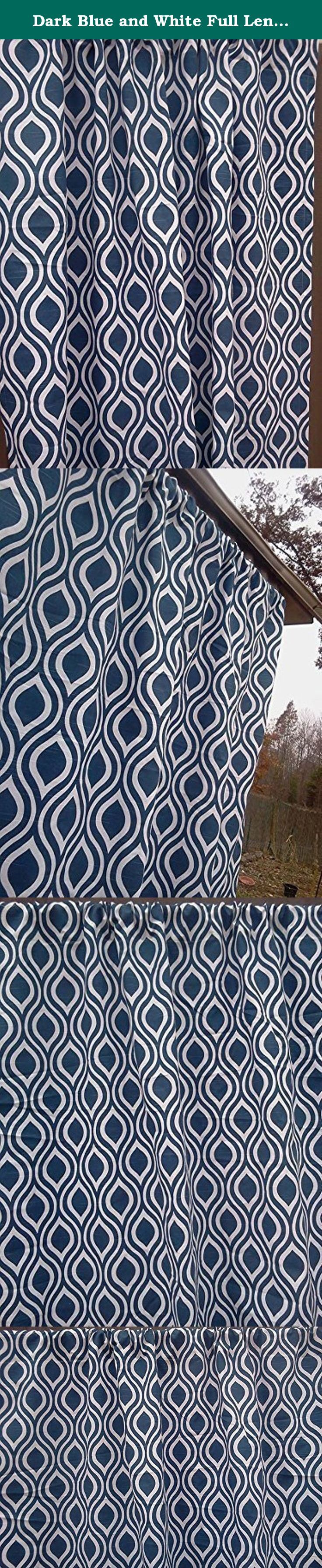 "Dark Blue and White Full Length Teardrop Curtains; Two 84"" Full Length Curtains, 100% quality cotton Premier Prints drapery fabric; 52"" Wide by 84"" Long; Dark Blue, heavy Weight, Full Length Curtains. Dark Blue and White Full Length Teardrop Curtains, Two 84"" Full Length Curtains; 100% quality cotton, Premier Prints home décor weight drapery fabric. Please allow 7-14 days for delivery, as the curtains are handmade after your purchase to keep inventory costs low. Keeping inventory costs…"