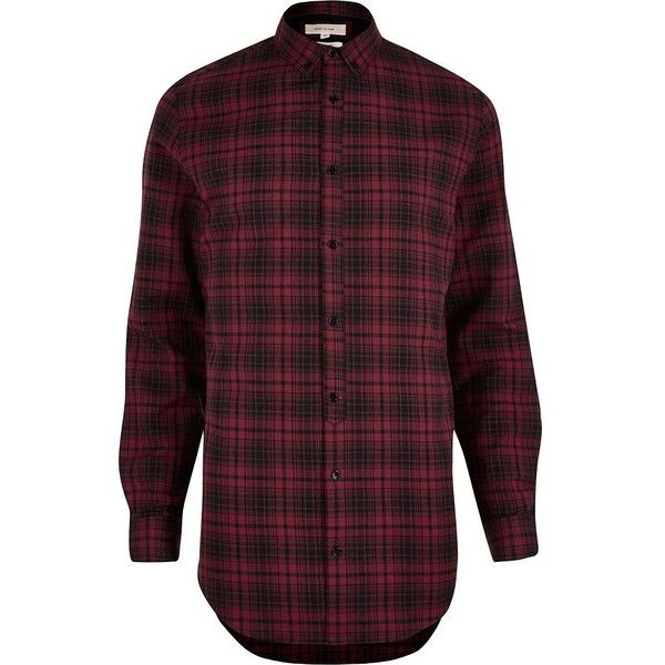 River Island Red longline checked shirt (£28) ❤ liked on Polyvore featuring men's fashion, men's clothing, men's shirts, men's casual shirts, red, shirts, mens red shirt, mens tall flannel shirts, mens red checkered shirt and mens longsleeve shirts
