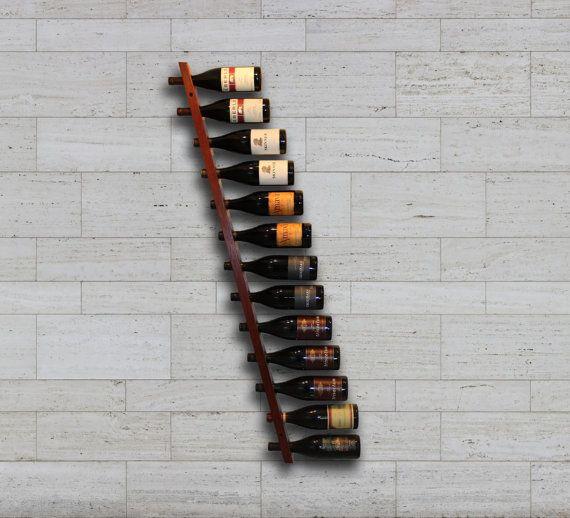 12 bottle Hanging Wall Wine Rack - handmade from Jarrah hardwood