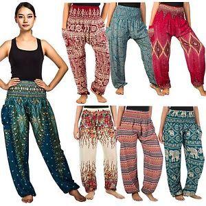 Thai Women Harem Pants Yoga Festival Baggy Hippie Boho Alibaba Hareem Trousers   eBay