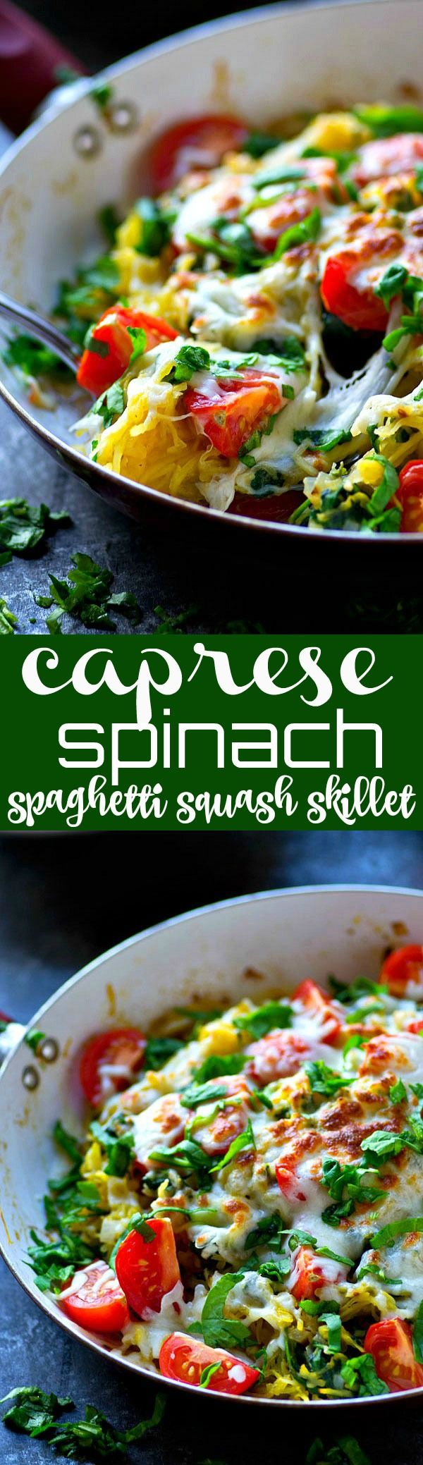 Everything you love about caprese is packed into this SUPER flavorful and easy-to-throw-together spaghetti squash skillet! You won't even miss the regular noodles.