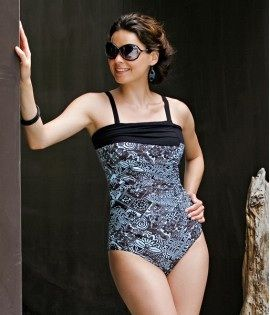 Cara Mastectomy Swimsuit in Flores Blue