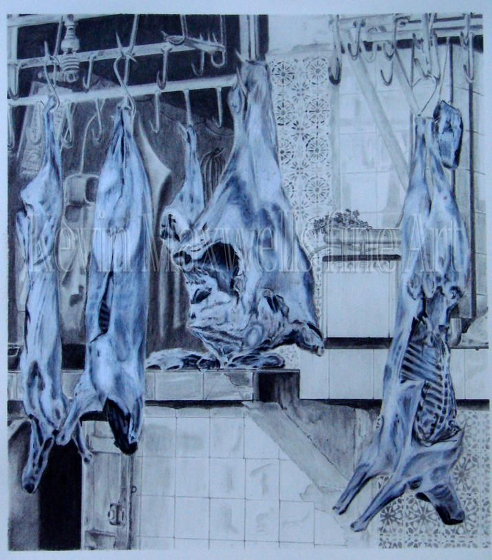 Meat. 30cm x 60cm paper size. Image size 23cm x 27cm Graphite & Chinagraph. $250 Framed