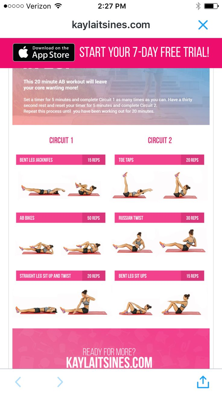 Kayla Itsines 20 minute Flat Abs workout