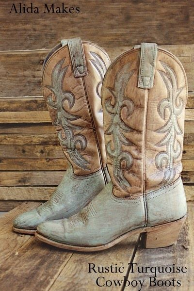 How to make a pair of cowboy boots. Diy Turquoise Cowboy Boots - Step 8