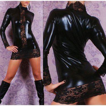 Robe Sexy Vinyle et Dentelle - 36.90€