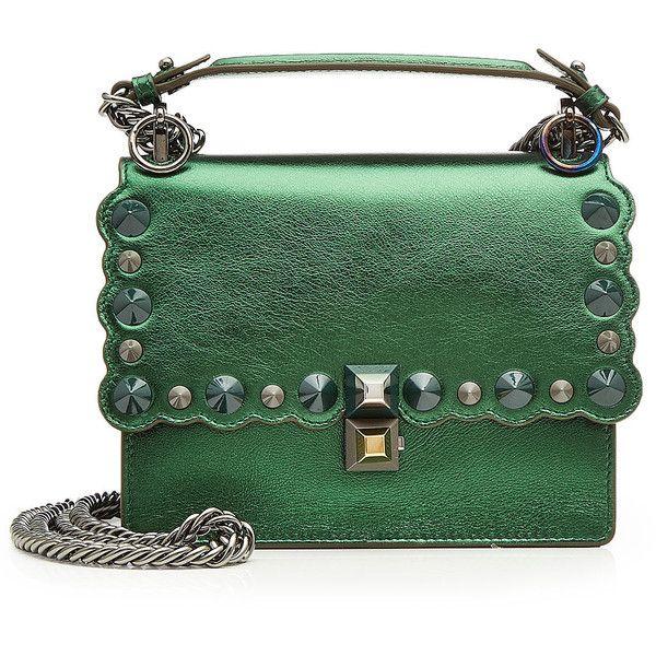 Fendi Mini Kan I Metallic Leather Shoulder Bag (29.739.985 IDR) ❤ liked on Polyvore featuring bags, handbags, shoulder bags, green, leather shoulder bag, leather purses, fendi handbags, shoulder hand bags and mini handbags