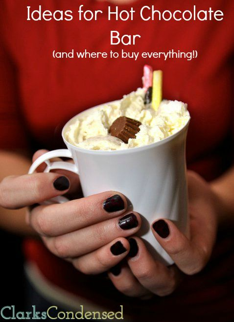 Hot Chocolate Bar Ideas by Clarks Condensed I love the idea of soups and breads for the food :)