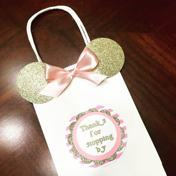 Pink and gold Minnie mouse favor bags