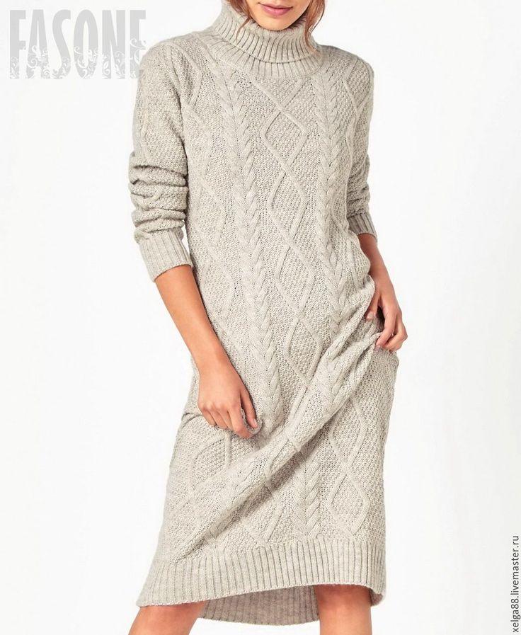 """Купить Платье серое """"Fasone"""". Платье на зиму. Платье женское в пол - платье на каждый день"""