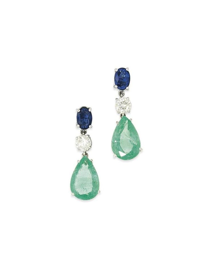 A pair of emerald, sapphire and diamond earrings #christiesjewels #earrings