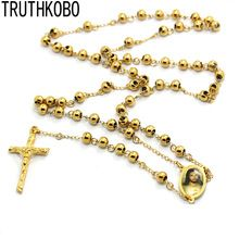 316 Stainless Steel Gold Color Crucifix Cross 6MM Bead Rosary Saint Sacred Heart Jesus Rosary Necklace For Catholic //Price: $US $9.83 & FREE Shipping //     #hashtag1
