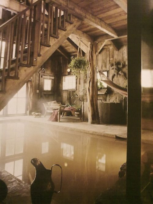 A rustic, hot inside pool. Would be awesome in the winter.