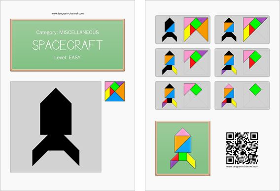 Tangram worksheet 201 : Spacecraft - This worksheet is available for free download at http://www.tangram-channel.com