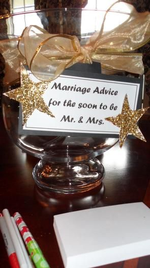 """You could combine this with the puzzle idea and have it read """"marriage is puzzling any advice to put the pieces together is welcome"""""""
